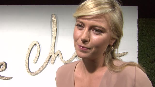 maria sharapova on what she's wearing on attending tonight's event on what she loves about chloe on her favorite piece of chloe clothing in her... - maria sharapova stock videos and b-roll footage