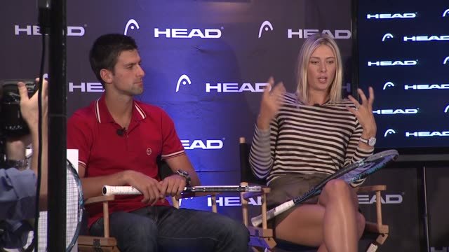 vídeos de stock, filmes e b-roll de maria sharapova talks about athletes having to have a life outside of tennis and being human at the maria sharapova and novak djokovic unveil the... - maria sharapova