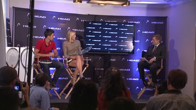vídeos de stock, filmes e b-roll de maria sharapova talks about comparing the early stage of her career with today at the maria sharapova and novak djokovic unveil the latest collection... - maria sharapova