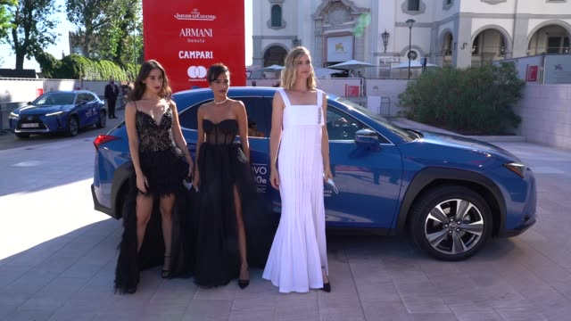 stockvideo's en b-roll-footage met maria zreik bahira ablassi naama preis arrive on the red carpet ahead of the 'laila in haifa' screening during the 77th venice film festival on... - filmfestival