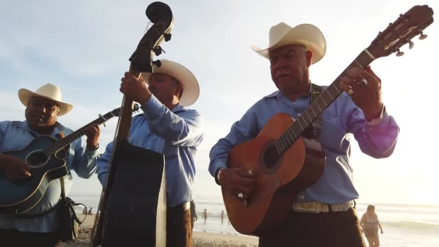 a mariacahi band plays on the beach near the usmexico border on the beach between mexico and san diego on march 31 2019 in tijuana mexico - stringed instrument stock videos & royalty-free footage