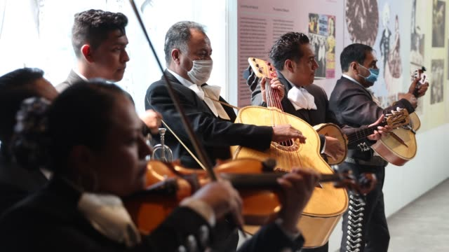 mariachi musicians with some wearing protective masks play their instruments as the band maricahi cultural perform during a recording at the museo... - cactus stock videos & royalty-free footage