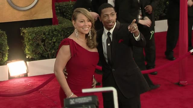 mariah carey and nick cannon at the 16th annual screen actors guild awards arrivals at los angeles ca - nick cannon stock videos & royalty-free footage