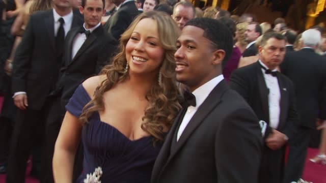 mariah carey and nick cannon at the 82nd annual academy awards arrivals at hollywood ca - mariah carey stock-videos und b-roll-filmmaterial