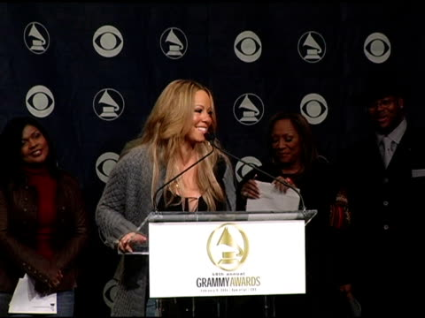 mariah carey announces 'best new artist' nominees at the 2005 grammy awards nominations ceremony at gotham hall in new york, new york on december 8,... - mariah carey stock videos & royalty-free footage
