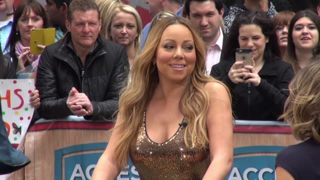 mariah carey at the 'access hollywood' show in new york city in celebrity sightings in new york - mariah carey stock-videos und b-roll-filmmaterial