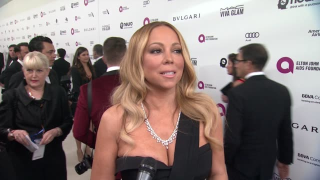 vídeos de stock, filmes e b-roll de interview mariah carey on supporting elton at elton john aids foundation presents 24th annual academy awards viewing party on february 28 2016 in... - mariah carey