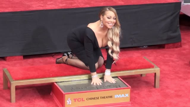 "mariah carey was hailed as ""beyond iconic"" as she was honoured with a hand and footprints ceremony in hollywood boulevard the singer said the event... - mariah carey stock-videos und b-roll-filmmaterial"