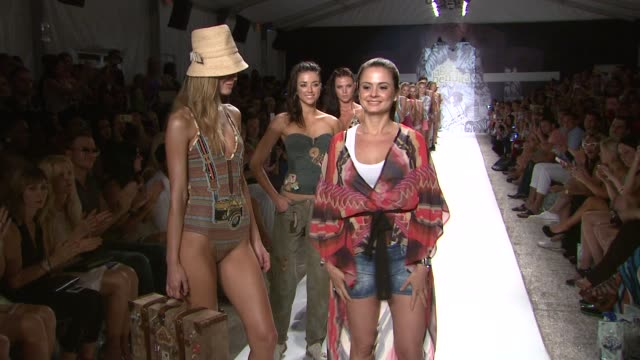 stockvideo's en b-roll-footage met mariana hinestroza and models walk the runway during the agua bendita - mercedes-benz fashion week swim 2014 on july 19, 2013 in the raleigh hotel,... - agua