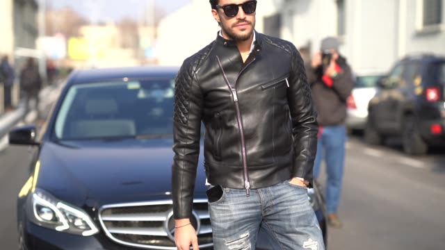 Mariano Di Vaio wears a black leather jacket during Milan Menswear Fashion week Fall/Winter 2018/19 on January 14 2018 in Milan Italy