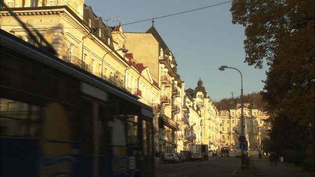marianske lazne (marienbad in german), czech republic - trolley bus stock videos & royalty-free footage