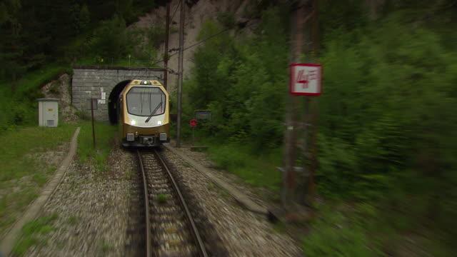 mariazellerbahn - alpine train comes ot of a tunnel in lower austria - オーストリア点の映像素材/bロール