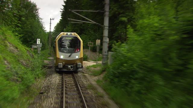 mariazellerbahn - alpine train goes into a tunnel in lower austria - オーストリア点の映像素材/bロール