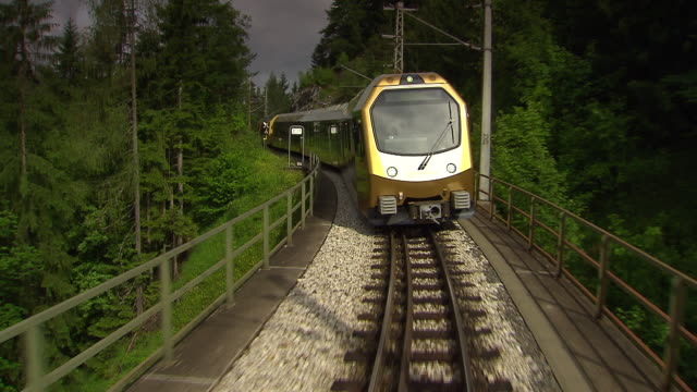 mariazellerbahn - alpine train goes over a bridge in lower ausria 02 - オーストリア点の映像素材/bロール