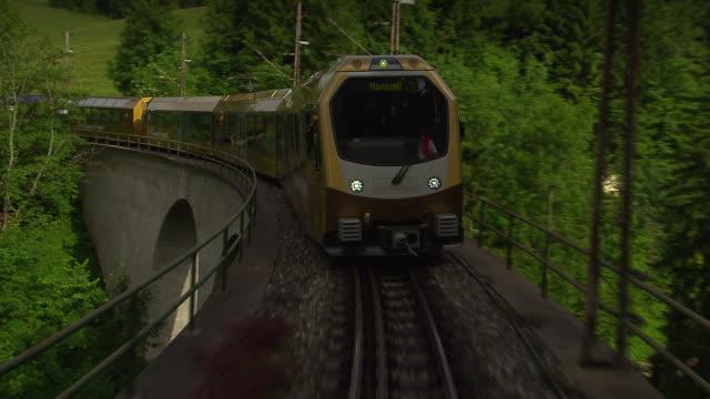 Mariazellerbahn - Alpine train goes over bridge and through tunnel in Lower Austria