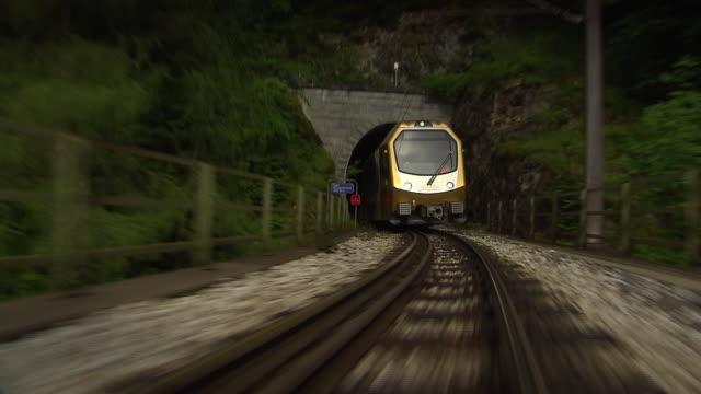 mariazellerbahn - alpine train goes through tunnel in lower austria - オーストリア点の映像素材/bロール