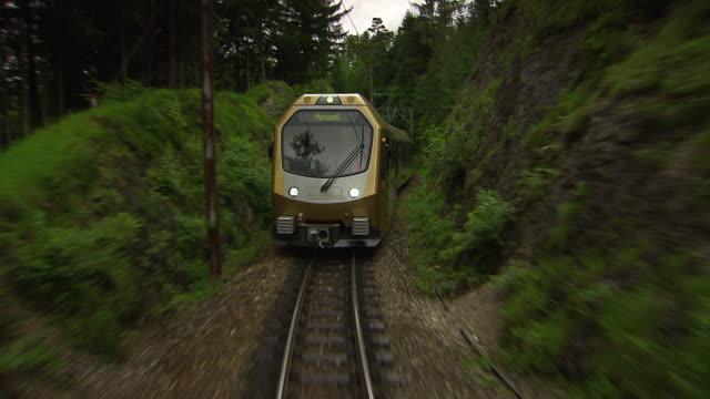 mariazellerbahn - alpine train on the tracks in lower austria 03 - オーストリア点の映像素材/bロール