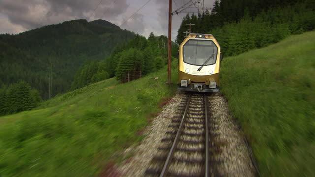 mariazellerbahn - train on the tracks with alpine views in lower austria 04 - オーストリア点の映像素材/bロール