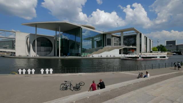 marie elisabeth lueders building and spree river, berlin, germany - river spree stock videos & royalty-free footage