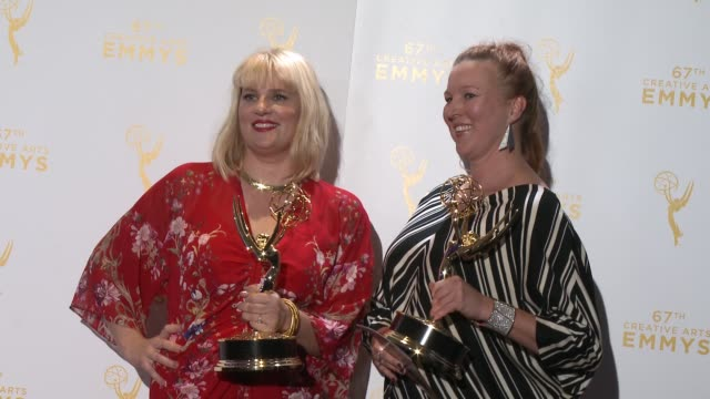 marie schley and nancy jarzynko at the 2015 creative arts emmy awards at microsoft theater on september 12 2015 in los angeles california - emmy awards stock-videos und b-roll-filmmaterial