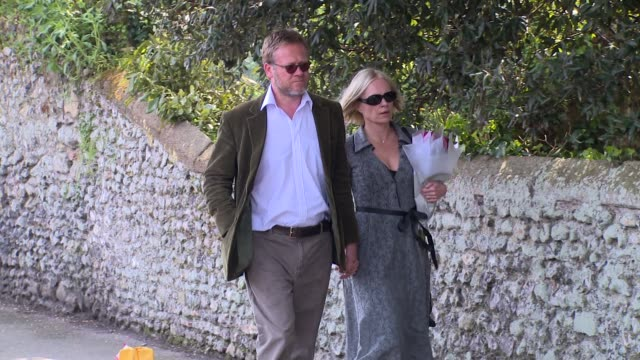 mariella frostrup at peaches geldof funeral at st mary magdalene & st lawrence church on april 21, 2014 in faversham, england. - mariella frostrup stock videos & royalty-free footage