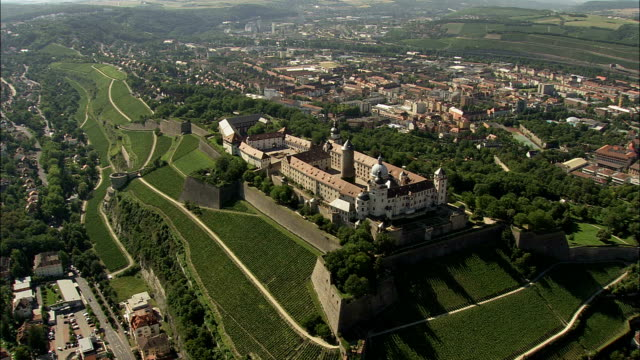 Marienberg Fortress  - Aerial View - Bavaria,  Lower Franconia,  Kreisfreie Stadt Würzburg helicopter filming,  aerial video,  cineflex,  establishing shot,  Germany