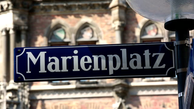 marienplatz in munich - street name sign stock videos and b-roll footage