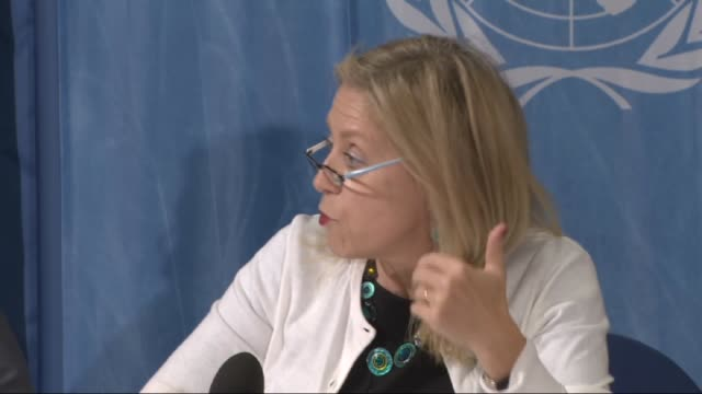 mariepierre poirier unicef special coordinator on refugee and migrant crisis in europe informs the media during a press conference at the european... - unicef stock videos & royalty-free footage