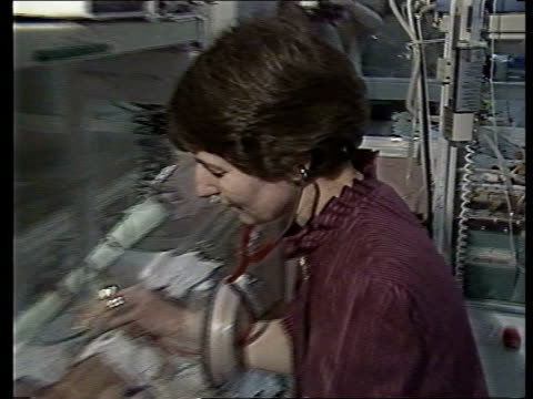 **** RUSHES KEPT / TTT ENGLAND Newcastle Princess Mary Hospital INT CMS SIDE Dr Mariettas Higgs putting on stethoscope PAN RL as she listens to tiny...