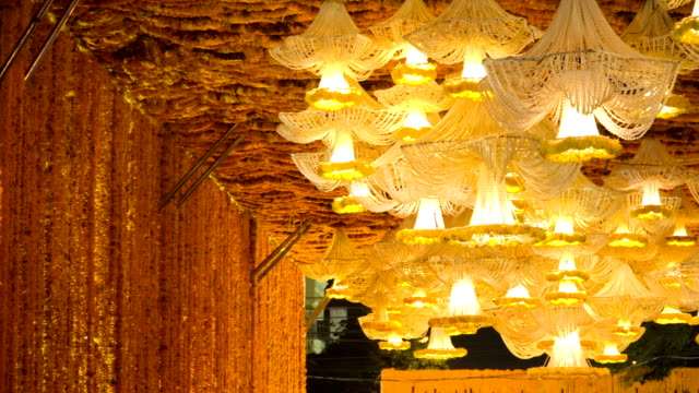 Marigold arch and chandelier