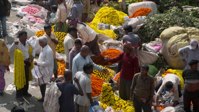 marigold garlands buyers and sellers in a busy morning in kolkata flower market - kolkata stock videos & royalty-free footage