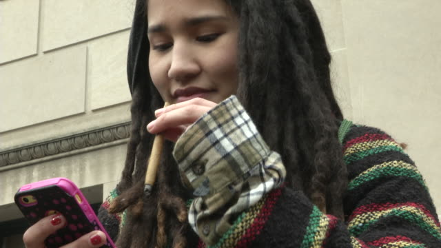 a marijuana legalization advocacy group handed out between 4000 and 8000 joints at a promarijuana protest in dupont circle hours before the events of... - dupont circle stock videos & royalty-free footage
