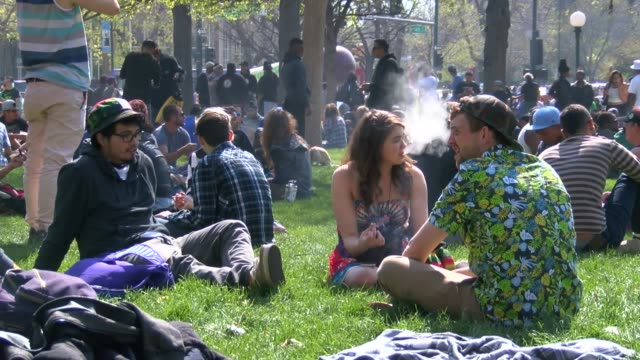 Marijuana smoking holiday at Lincoln Park in Denver Colorado