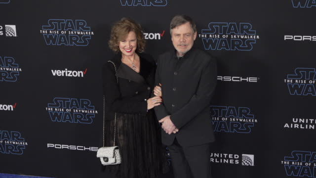 """marilou york and mark hamill at the premiere of disney's """"star wars: the rise of skywalker"""" on december 16, 2019 in hollywood, california. - star wars stock videos & royalty-free footage"""
