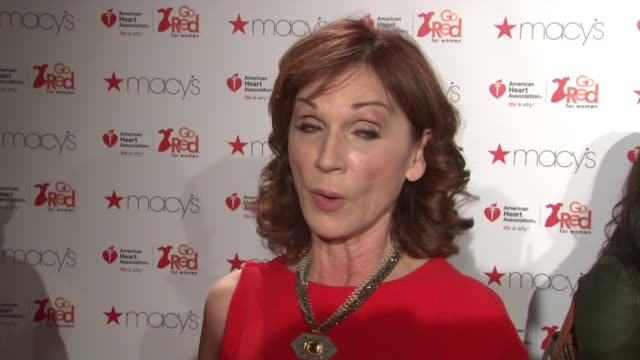marilu henner on wearing escada which she loves and got married in. she talks about why she wanted to participate and her personal connection to... - escada stock-videos und b-roll-filmmaterial