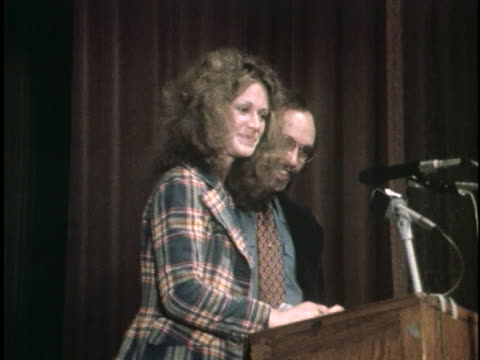 marilyn chambers, former model for ivory snow laundry detergent, speaks to students at hunter college in new york city about her new career as a... - laundry detergent stock videos & royalty-free footage