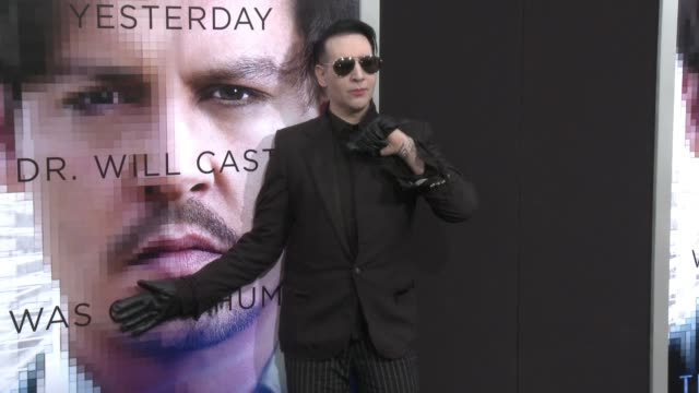 """marilyn manson at the """"transcendence"""" los angeles premiere at regency village theatre on april 10, 2014 in westwood, california. - regency village theater stock videos & royalty-free footage"""