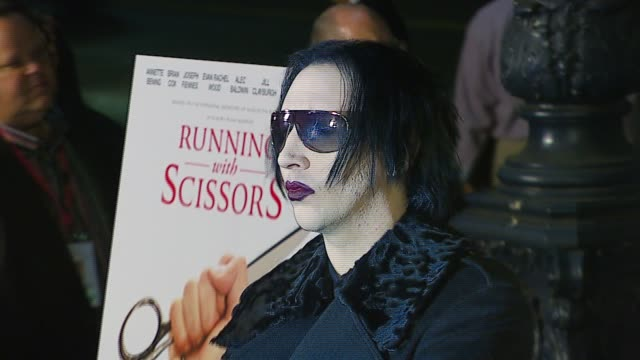 marilyn manson at the tristar pictures presents 'running with scissors' los angeles premiere at academy of motion picture arts sciences in beverly... - tristar pictures stock videos and b-roll footage