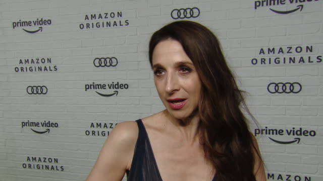 vídeos y material grabado en eventos de stock de marin hinkle on celebrating mrs. maisel's emmy wins, why she thinks fans have embraced this show and what she's most looking forward to at the party... - premios emmy