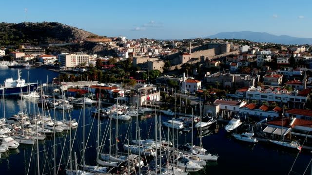 marina and cityscape of cesme - izmir stock videos & royalty-free footage