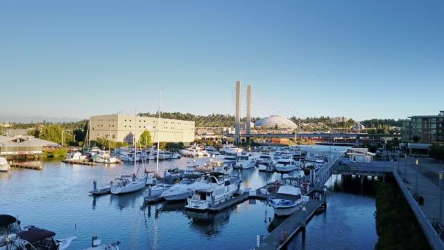 marina and landmarks of tacoma - aerial view - marina stock videos & royalty-free footage