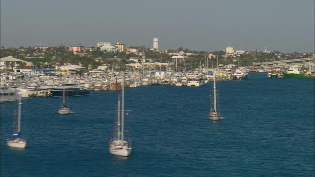 AERIAL Marina and moored boats at Nassau, Bahamas