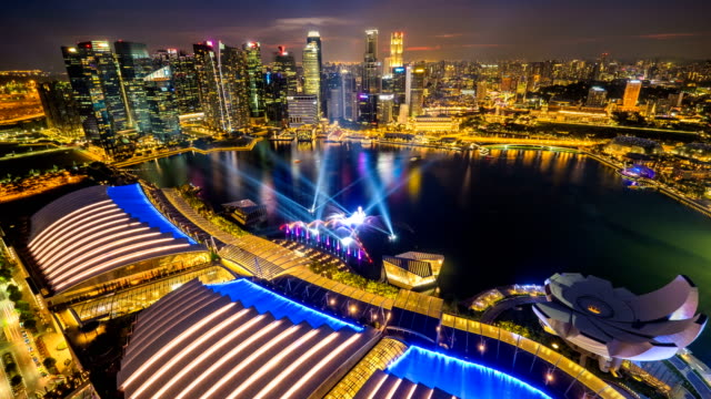 Marina Bay and Financial district City of Singapore at Sunset,Timelapse