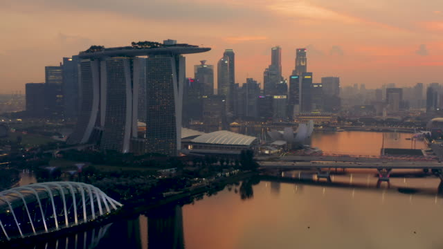 marina bay at sunset - river singapore stock videos & royalty-free footage