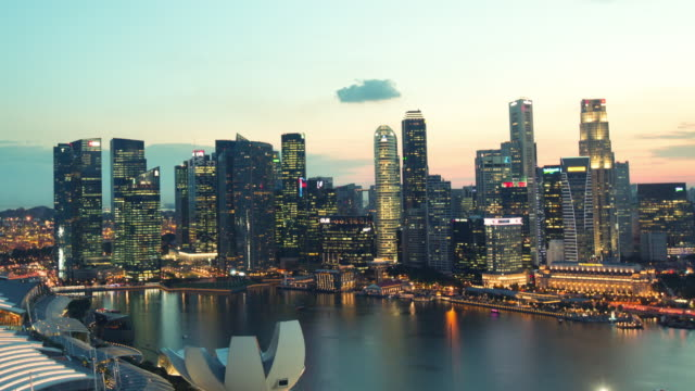 WS CS TL Marina Bay business district day to night timelapse, Singapore