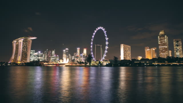 t/l ws marina bay, day to nightscape, singapore flyer, marina bay sands, cbd, central business district,ritz carlton, millenia, downtown - singapore flyer stock videos and b-roll footage