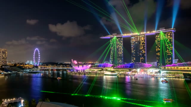 Marina Bay laser light show close - Singapore