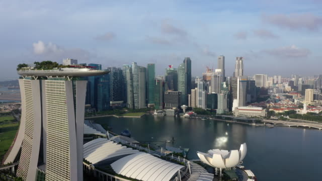 marina bay sands hotel and artscience museum and downtown area / downtown core, singapore - high up stock videos & royalty-free footage