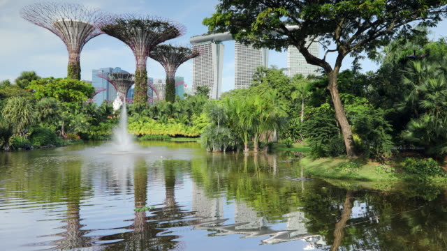 marina bay sands hotel and gardens by the bay, singapore, southeast asia, asia - marina bay singapore stock videos and b-roll footage