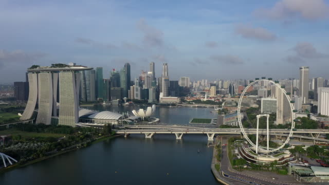marina bay sands hotel and singapore flyer and downtown area / downtown core, singapore - singapore stock videos & royalty-free footage